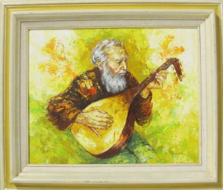 Oil On Canvas Painting Old Man Playing Lute Bright &colorful Karim Yqz photo
