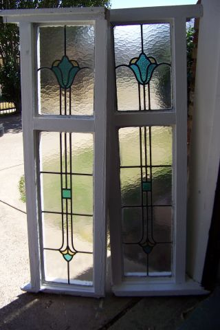 Old Vtg Double Pane Tulip Window Large Tall Stained Glass Salvage Uk photo