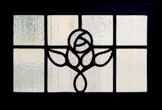 Antique Leaded Glass Window Fantastic Macintosh Rose photo