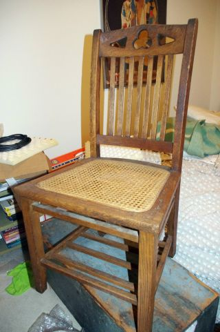 Antique 1920s Arts & Crafts Mission Oak Chair Heywood Wakefield Cane Seat Clover photo