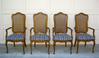 Four Thomasville Blue Gorgeous French Provincial Cane Arm Chairs Diningroom photo