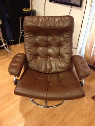 Leather Lounge Reclining Chair W Ottoman Chrome Modern photo