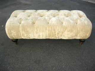 Vintage Regency Beige Suede Oblong Tufted Bench With Wood Bun Feet photo