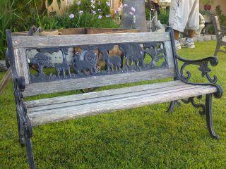 Vintage Yard Patio Outdoor Park Garden Bench Wooden Kids Seat Chair Cast Iron photo