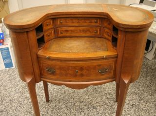Louis Xv Revival Inlaid Oval Wood Desk Secretary photo