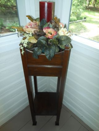Older Mahogany Two Tier Plant Fern Candle Stand Planter F/ England photo