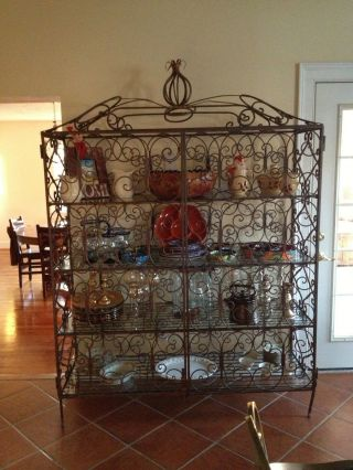 Spectacular Antique Large Two Door Scrolled Iron Baker ' S Rack / Cabinet photo