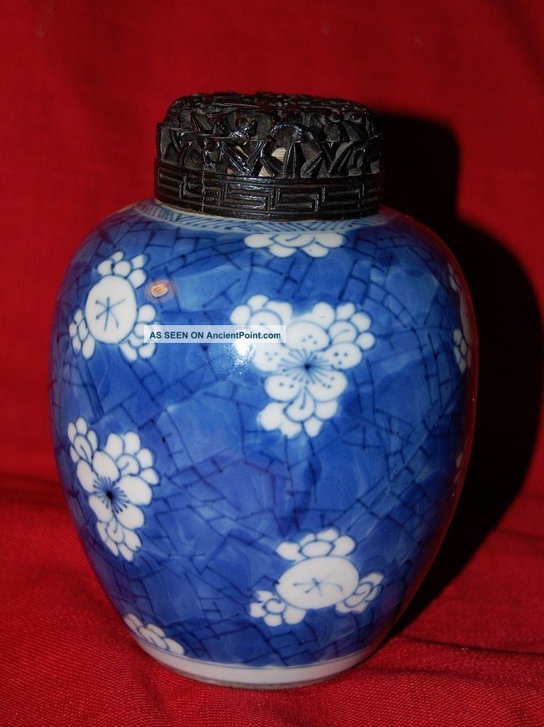 Fine Antique Chinese Porcelain Jar With Pierced Wood Top Other photo