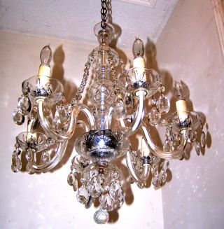 1920s Quality Cut Crystal Murano Diamond Cut Beads Chandelier Fixture photo