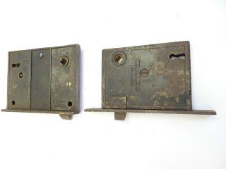 Antique Metal Cast Iron 1860s Mw & Co & Mystery Door Lock Assemblies Hardware Nr photo