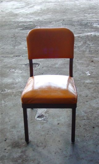 Vintage Retro 1960s Yellow / Orange Vinyl Steel Office Industrial Tanker Chair photo