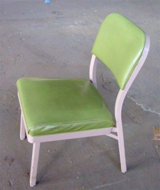Retro Vtg 1960s Lt Green Vinyl All Steel Eqpmt Office Industrial Factory Chair photo