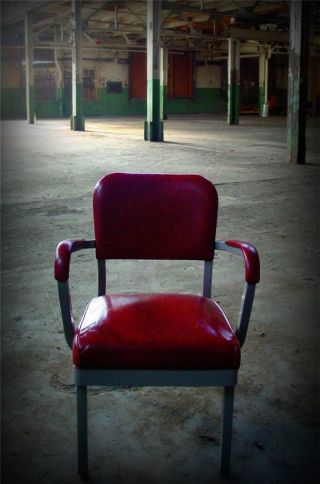 Vintage 1950s Red Vinyl Steel Office Industrial Factory Arm Chair photo