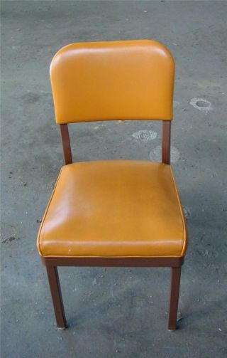 Retro Vintage 1960s Yellow / Orange Vinyl Steel Office Industrial Factory Chair photo