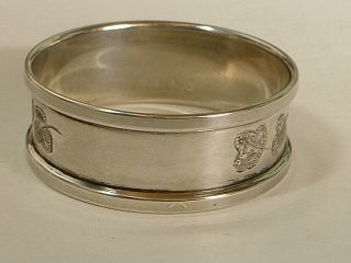 English Sterling Silver Napkin Ring With Pretty Leaf Engraving photo