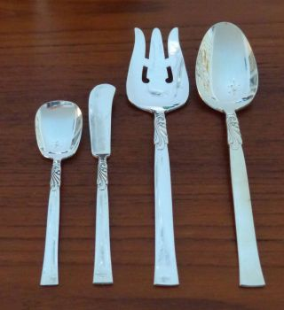 1955 Oneida Nobility Wind Song Silver Plate Flatware Serving Pieces Set Of 4 photo