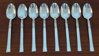 1955 Oneida Nobility Wind Song Silver Plate Flatware 5 O ' Clock Teapoon Set Of 8 photo