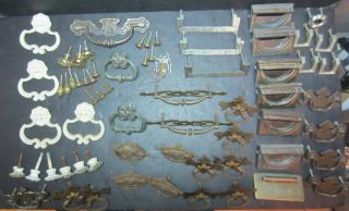 Antique Vintage Furniture Hardware Drawer Pulls 65 Pieces Tarnished Aged photo