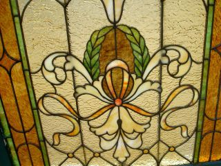 Art Nouveau Antique Stained Glass Window W/10 Jewels Ohio Estate 177 photo
