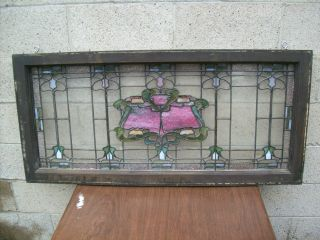 Old Art Nouveau Stained Leaded Glass Window In Orig.  Frame Circa 1907 Rudy Bros? photo