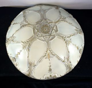 Vtg Antique Art Deco Clear Press Glass Ceiling Light Shade 3 Hole Mount photo