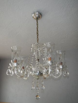 Antique Crystal Chandelier Light Fixture Vintage Glass Candelabra Shades Mid Cen photo