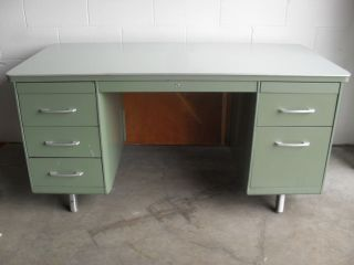 Vintage Mid - Century Mad Men Machine Age Eames Mist Green Steel Tanker Desk L@@k photo