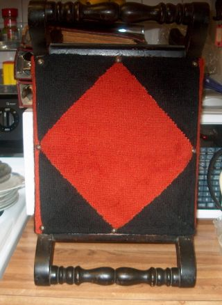 Antique Wood Victorian Foot Stool Needlework Seat Red & Black photo