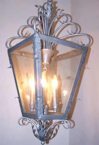 Vtg.  Large Shabby Iron Acanthus Leafs Lantern Chandelier 1970 - 80s Fixture photo