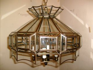 Vtg.  Large Solid Brass Beveled Glass Pendent Chandelier 1960s Quality Fixture photo