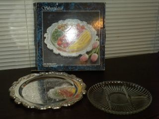Crystal And Silverplate Serving Tray Wm Rogers Silverplate And Crystal Nib photo