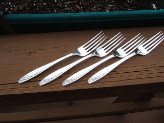 4 Rogers International Starlight 1953 Salad Forks Medium Use A photo