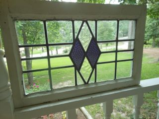 172s Double Diamond Leaded Stained Glass Window From England photo