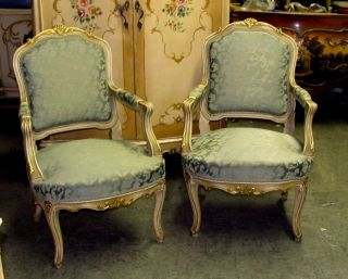 Stunning Chic Cottage Painted Gilt French Louis Xv Fauteuils Arm Chairs photo