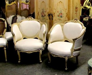 Large Chic Corbeille Rococo Painted Bergere Chairs photo