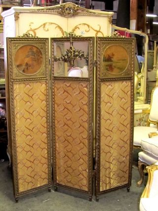 19th C.  French Gilt Panel Screen Room Divider Oil Painting Ribbon N Barbola Rose photo