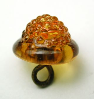 Antique Charmstring Glass Button Honey Color Berry Mold Swirl Back photo