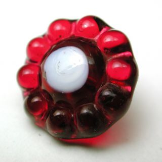 Antique Charmstring Glass Button Cranberry Candy Mold W/ White Dot Swirl Back photo