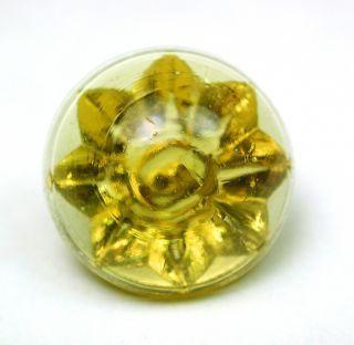 Antique Glory Mold Glass Button Lemon Color Swirl Back photo
