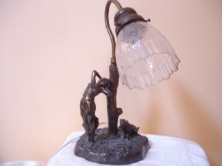 Art Deco Vtg French Spelter Girl & Dog Figural Table Lamp W/ Etched Glass Shade photo