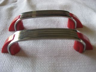 2 Vtg Chrome Drawer Pulls Red Bakelite Art Deco Amerock 4 - 1/4