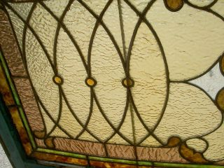 Jeweled Antique Stained & Beveled Glass Transom Window Ohio Estate 175 photo