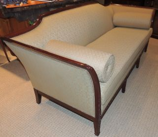 English Sofa – Walnut Regency Style Wood - Frame Couch,  Carvings Ca.  1930 ' S photo