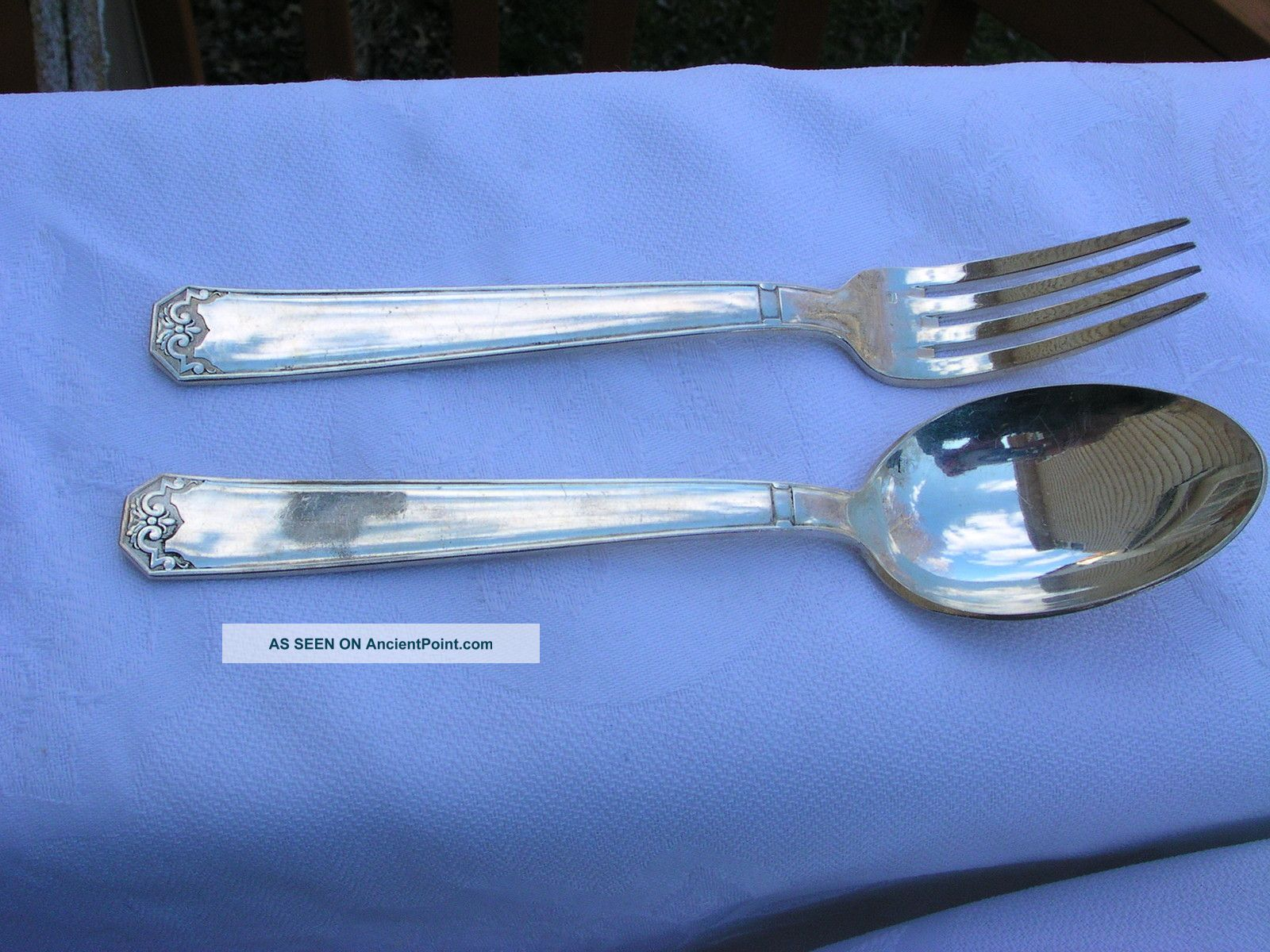 French Metal Blanc Silver Plate Dinner Fork Spoon Set France photo