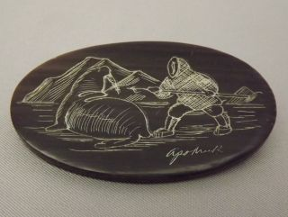 Old Vintage Baleen Scrimshaw Pin / Brooch Signed By Eskimo Artist,  Harry Apodruk photo