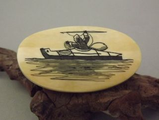 Old Vintage Estate Scrimshaw Eskimo In A Canoe Pin / Brooch Signed By Nuguruk photo