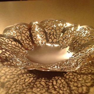 Vintage International Silver Company Bon Bon Dish Epns 3016 Lovelace Pattern photo