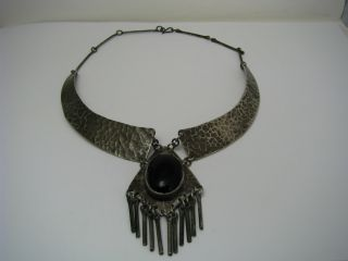 Artisan Handcrafted Modern Solid Sterling Silver Necklace Black Onyx Israel 1960 photo
