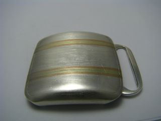 A Solid Sterling Silver Belt Buckle W/ 14k Gold Overlay Usa C1940s No Mono photo