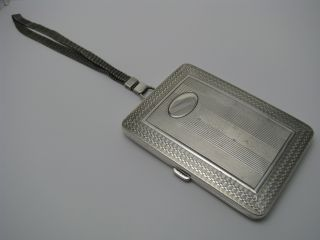 Sterling Silver Cigarette Case Card Case W/ Mesh Chain By Elgin - American Ca1940s photo